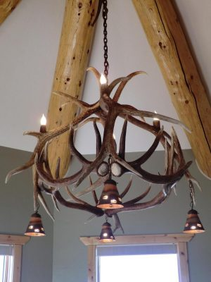 8 Light - Elk Chandelier with Copper Shades.  This style can be built to any size and more lights. - The Antler Shack Antler Chandeliers Antler Lamps