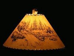 Bear Scene Lamp Shade - The Antler Shack Wildlife lamp Shades, elk, moose,deer Rustic handmade shades
