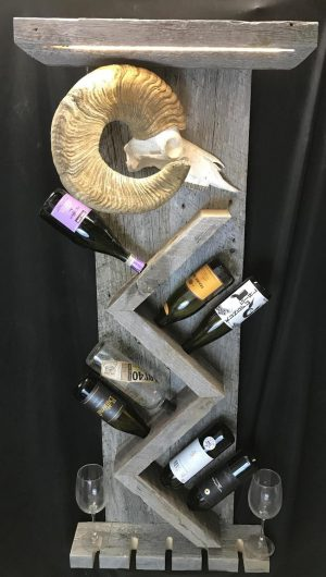 8 wine bottle wine rack Made from rustic barn wood and a 180 inch reproduction bighorn sheep with led lighting.  - The Antler Shack Wood Wine Racks Wood Lamps