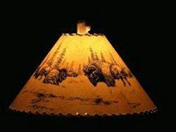 Bison Scene Lamp Shade - The Antler Shack Wildlife lamp Shades, elk, moose,deer Rustic handmade shades