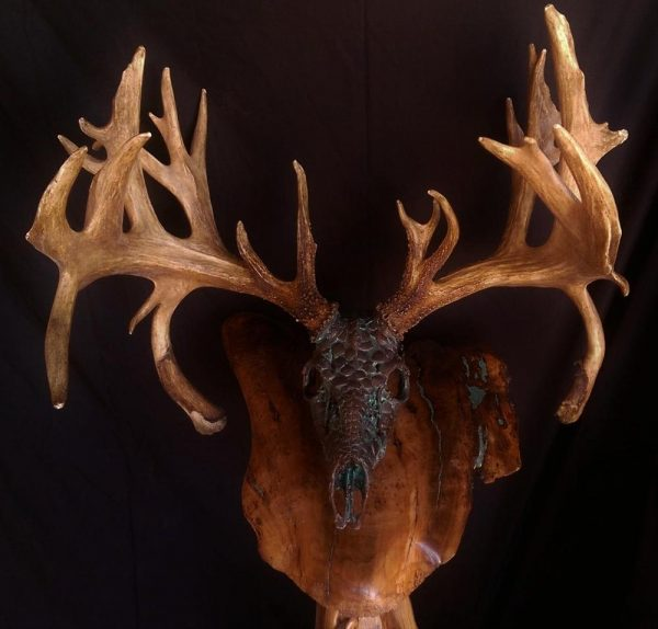 """Bronze Green """"Dragon Skin"""" Whitetail - The Antler Shack copper,bronze, brass, and silver metalized creations limited addition bronze"""