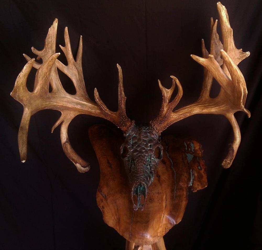 "Bronze Green ""Dragon Skin"" Whitetail - The Antler Shack copper,bronze, brass, and silver metalized creations limited addition bronze"