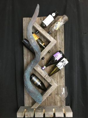 Bronze Kudu Horn wine rack. - Hold 8 bottles and 5 wine glasses - The Antler Shack Wood Wine Racks Wood Lamps
