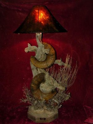 Custom Sheep lamp in desert scene - The Antler Shack Bighorn Sheep Lamps Wild Sheep reproductions