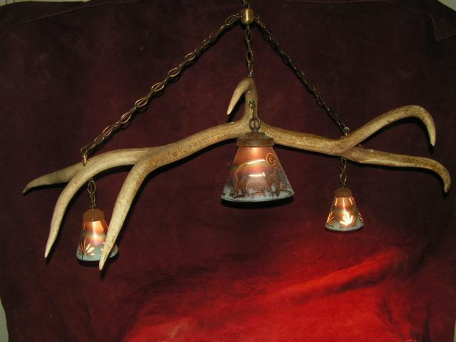 Single horn bar or table chandelier.   - The Antler Shack Antler Chandeliers Antler Lamps