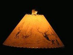 Elk Scene Lamp Shade - The Antler Shack Wildlife lamp Shades, elk, moose,deer Rustic handmade shades