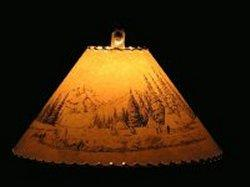 Indian Village Scene Lamp Shade - The Antler Shack Wildlife lamp Shades, elk, moose,deer Rustic handmade shades