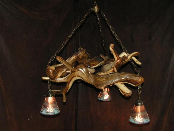 Juniper Chandeleir with Copper Shades.  More lights can be added to this style and can be any size - The Antler Shack Antler Chandeliers Antler Lamps
