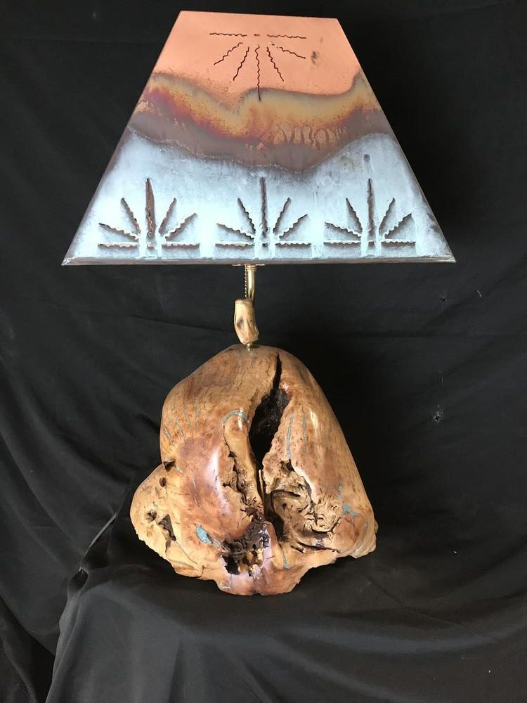 Manzanita burl lamp with turquoise inlay accents - The Antler Shack Wood Wine Racks Wood Lamps