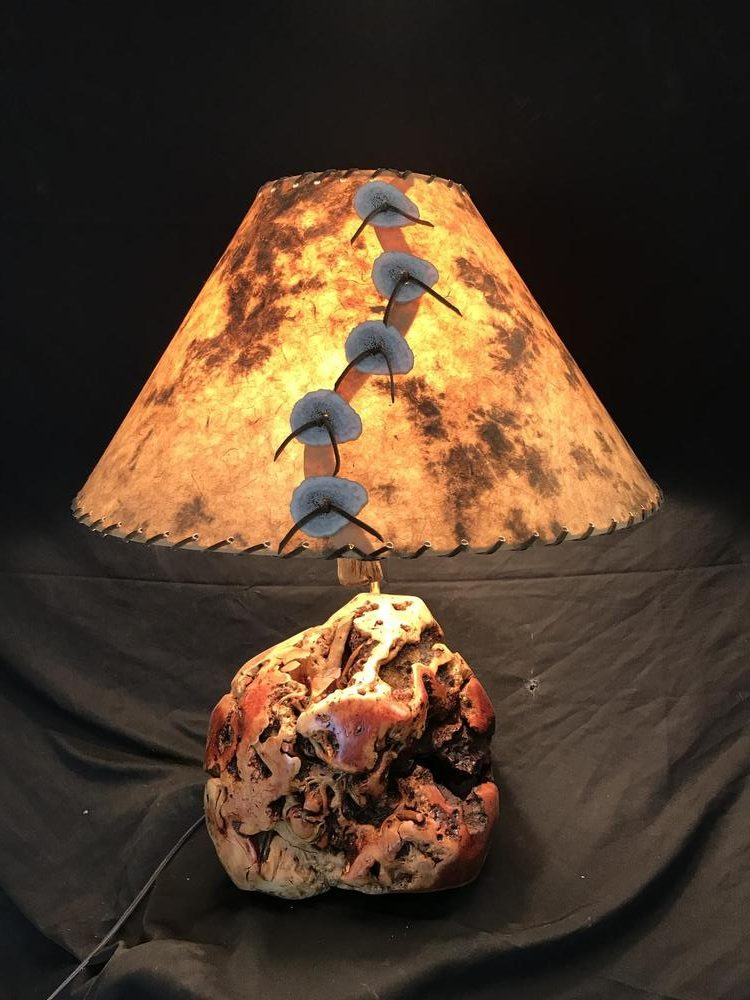 Manzanita Burl table lamp - The Antler Shack Wood Wine Racks Wood Lamps