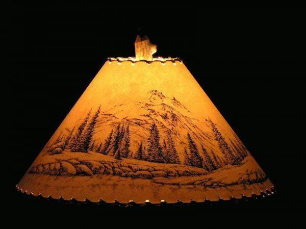 Mountain Scene Lamp Shade - The Antler Shack Wildlife lamp Shades, elk, moose,deer Rustic handmade shades