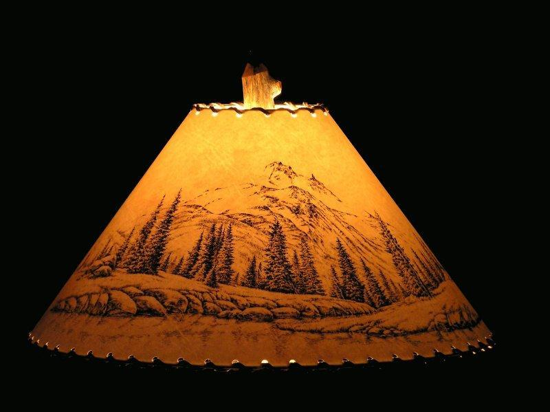 Mountain Scene Lamp Shade - The Antler Shack Wildlife lamp Shades, elk, moose,deer Rustic handmade shades