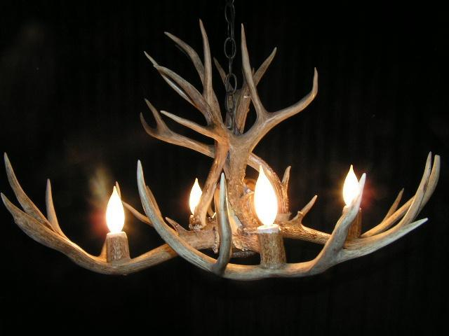 4 Light - Mule Deer Chandelier.  This steal can be made to any size with up to 8 lights - The Antler Shack Antler Chandeliers Antler Lamps