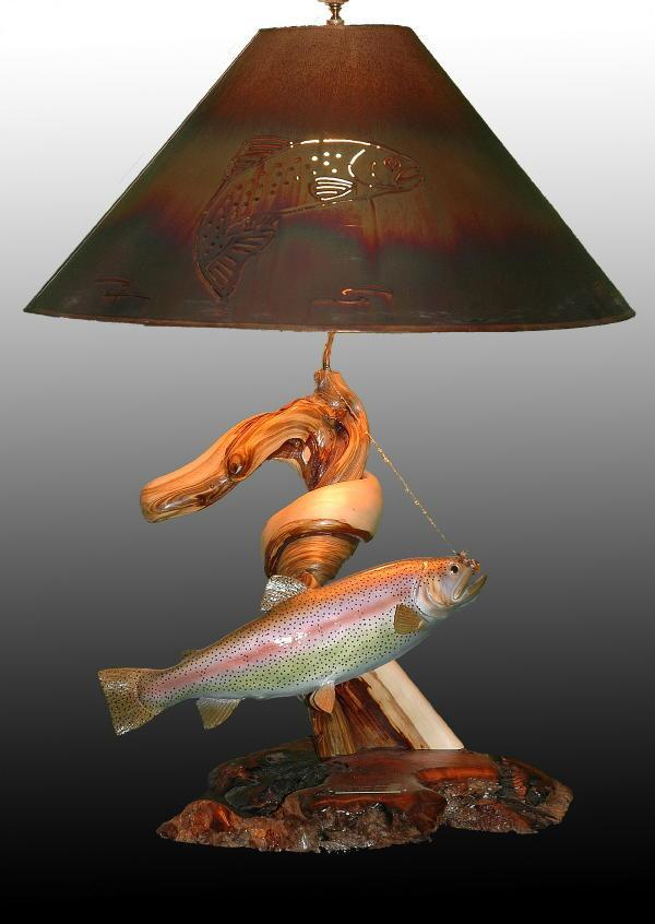 Upstream Battle - Sold - Taking Orders - The Antler Shack Fish Lamps Fish Themed Lighting