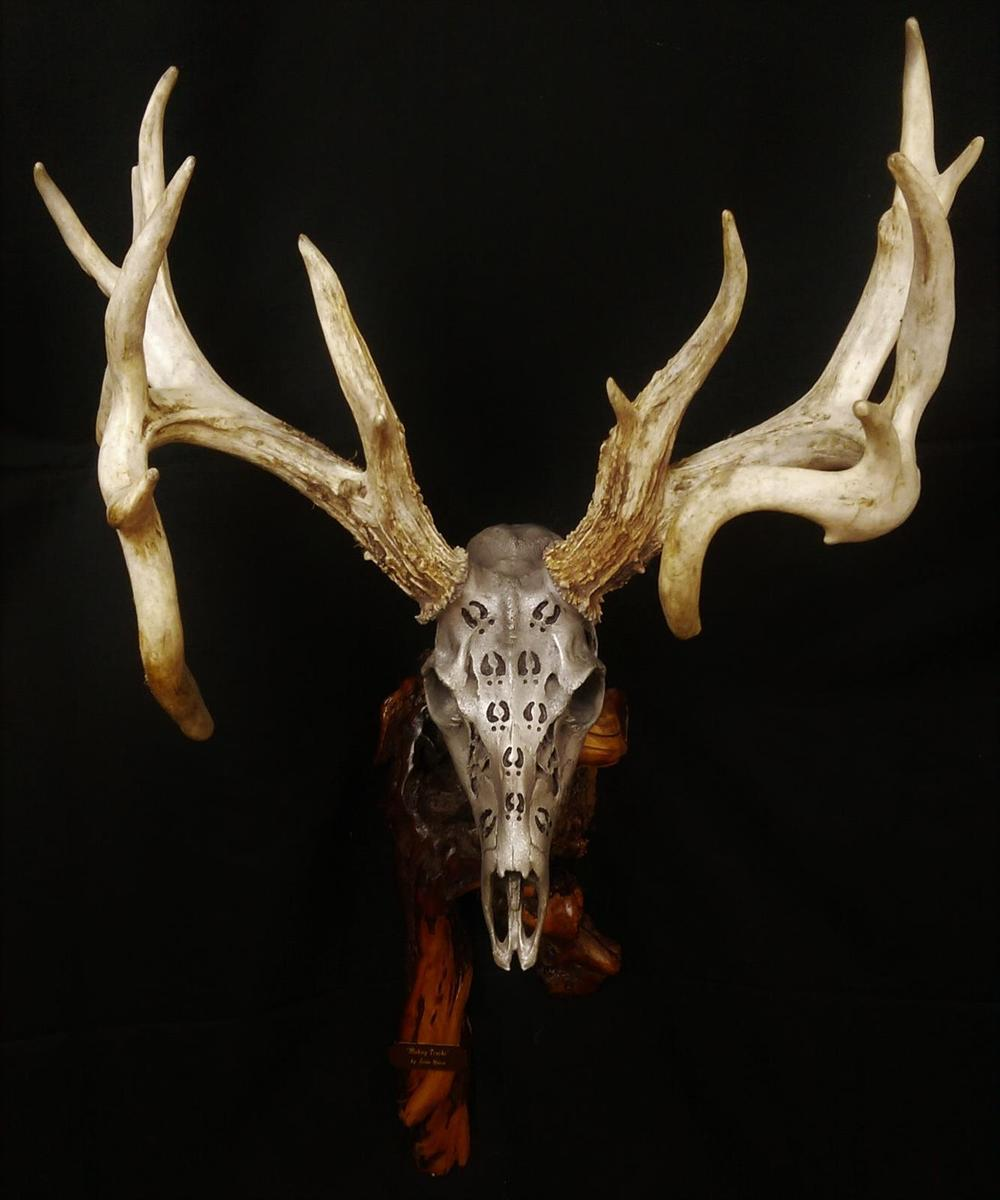 White Gold Whitetail With Carved Deer Tracks - The Antler Shack copper,bronze, brass, and silver metalized creations limited addition bronze