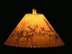Whitetail Scene Lamp Shade - The Antler Shack Wildlife lamp Shades, elk, moose,deer Rustic handmade shades