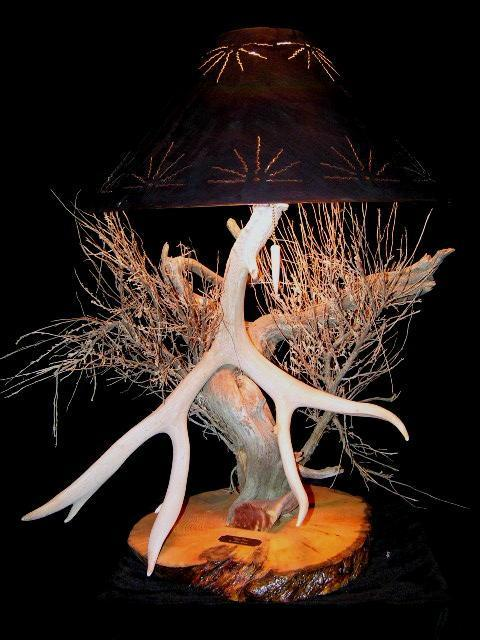 Years Past - Beautiful Mule Deer Antler and Juniper Lamp. - The Antler Shack Antler Lamp Clear Castings
